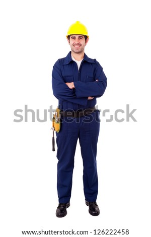 Full lenght portrait of a smiling young builder, isolated on white - stock photo