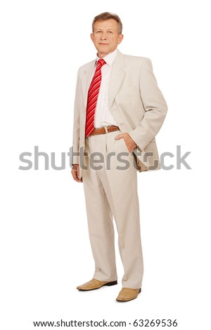 full-lenght portrait of senior businessman in suit on white - stock photo