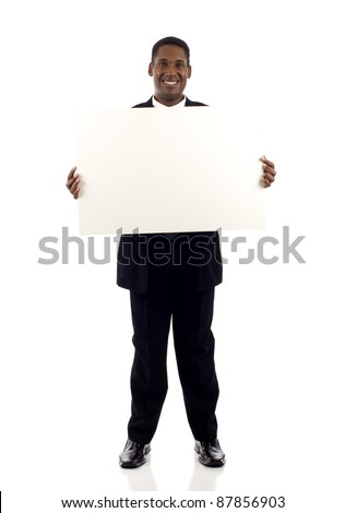 Full length a happy black businessman holding a blank sign isolated white background