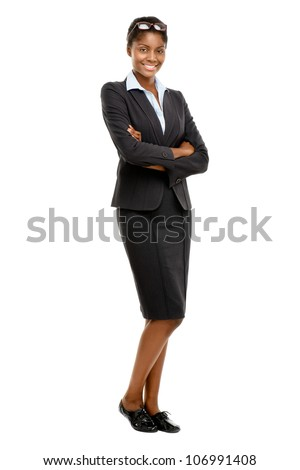 Full length African American Attractive young businesswoman whit - stock photo