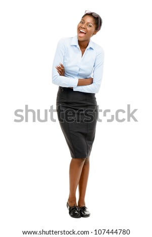 Full length African American Attractive young businesswoman white background