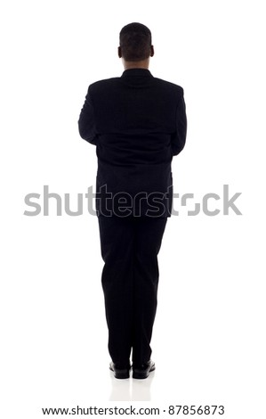 Full length African American business man standing back view isolated over white background - stock photo