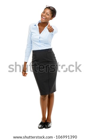 Full length African American businesswoman thumbs up on white background - stock photo