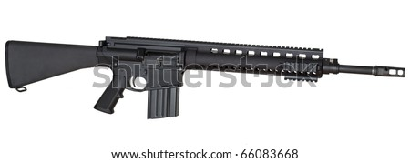 Full length assault rifle that is isolated on a white background
