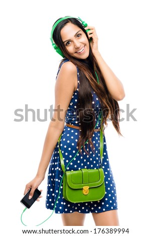 Full length attractive Indian woman fashion model white background - stock photo