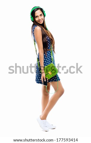 Full length attractive Indian woman fashion model white background