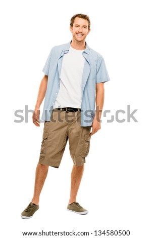 Full length attractive young man in casual clothing white background