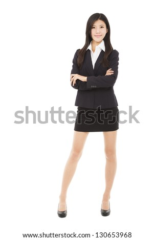 full length beautiful businesswoman standing with isolated on white background - stock photo
