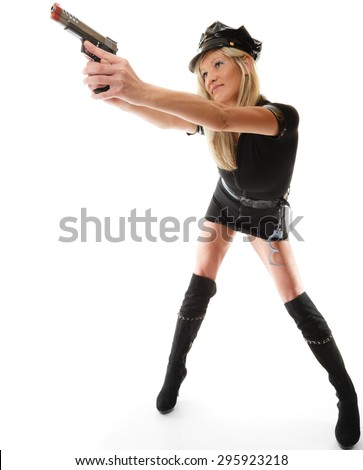Full length blonde female policewoman cop posing with gun handgun isolated on white background - stock photo