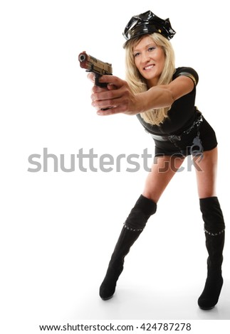 Full length blonde female policewoman cop posing with gun handgun isolated on white background - stock photo
