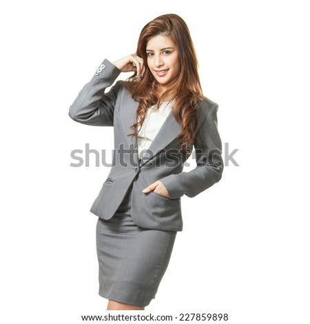 full length brunette businesswoman attractive in white background - stock photo