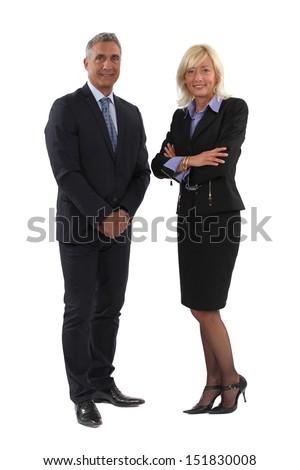 Full length business couple - stock photo