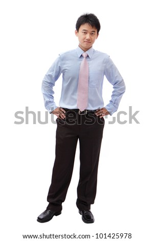 full length business man with confident smile isolated on white background, model is a asian male - stock photo
