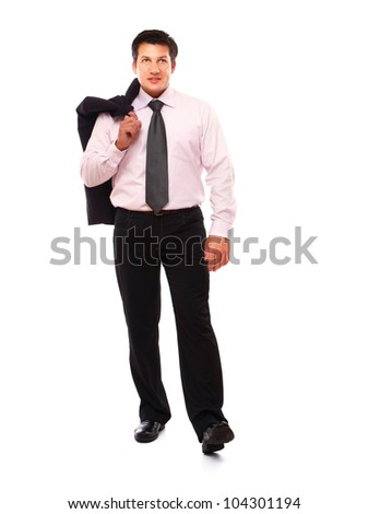 full length businessman isolated on white background - stock photo