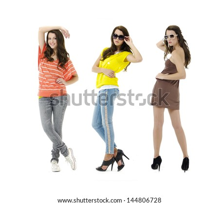 Full length casual fashion woman in jeans with sunglasses posing - stock photo