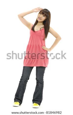 Full length casual girl smiling posing - stock photo