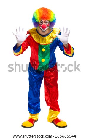Full length clown portrait - stock photo