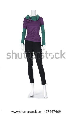 full-length collection of dress on mannequin - stock photo