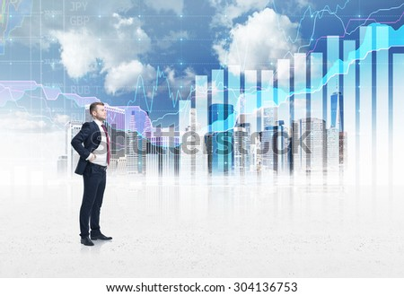 Full-length confident person in formal suit. A sketch of New York city and forex chart on the background. A concept of the asset management.