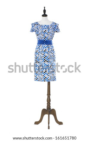 full-length evening dress on a dummy isolated  - stock photo