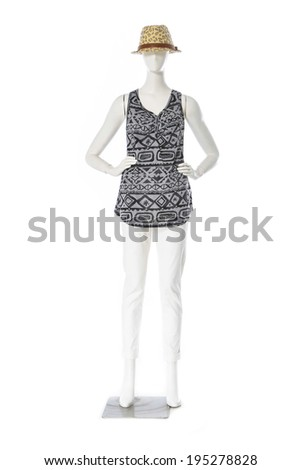 full-length female clothing in hat on mannequin - stock photo