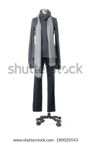 full-length female dress on with scarf mannequin on white background