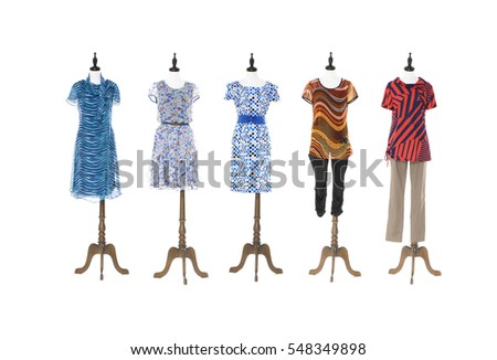 full-length female mannequin dressed in sundress with  trousers -on white background