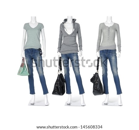 Full length female mannequin in jeans casual peignoir clothes with bag - stock photo