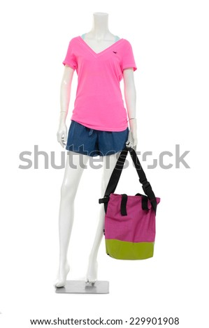 Full length female mannequin t-shirt dressed with bag  - stock photo