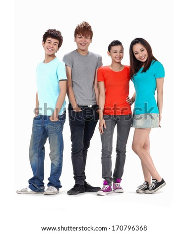 Full length Group of happy friends posing standing together posing - stock photo