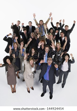 Full length group portrait of excited multiethnic businesspeople against white background - stock photo