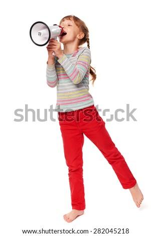 Full length happy little girl screaming in loudspeaker, over white background - stock photo