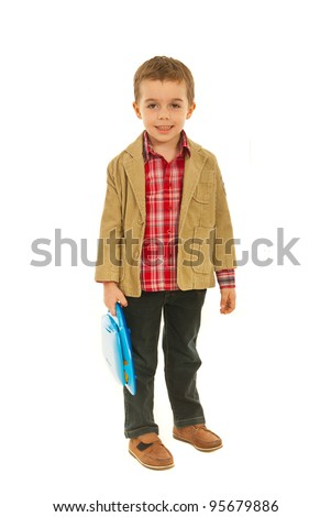 Full length if little business child boy holding laptop toy isolated on white background