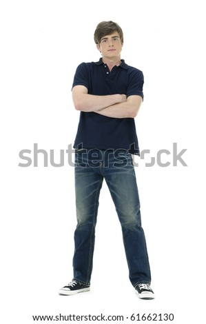 Full length image of a handsome young guy standing - stock photo
