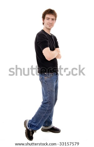 Full length image of a masculine handsome male isolated over white background