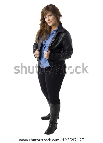 Full length image of a stylish woman wearing a leather jacket