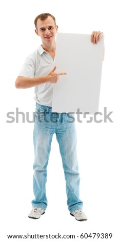 Full length image of a young man standing isolated against white