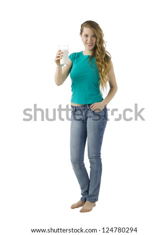 Full length image of an attractive woman holding a glass of milk - stock photo