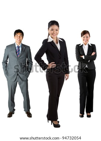 Full length image of Chinese business people - stock photo