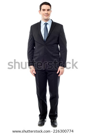Full length image of happy middle aged businessman