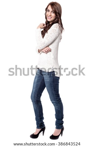 Full length image of stylish young woman - stock photo