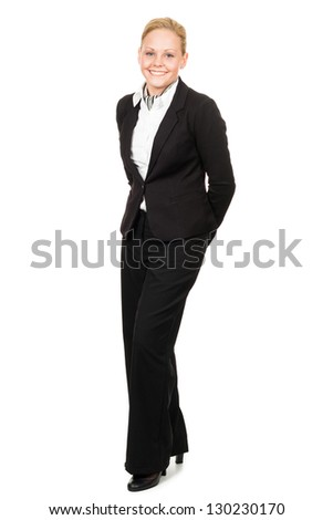 Full length isolated portrait of a happy blonde air hostess. - stock photo