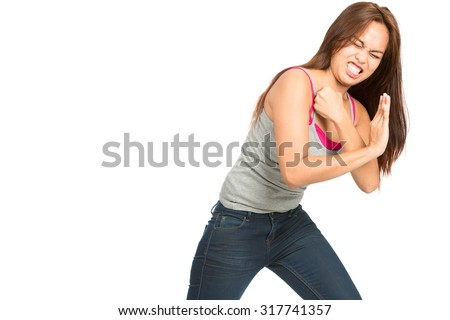 Full length isolated white background profile of spokes model Asian female, casually dressed, arms out to side, body language presenting, showing inserted product placement looking away