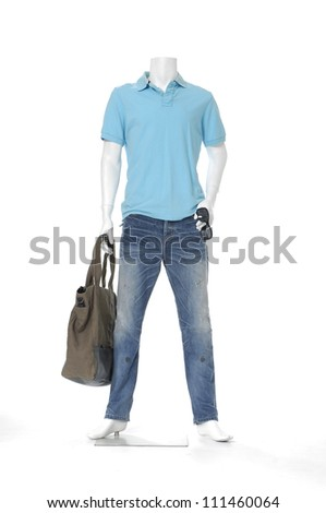 Full length male mannequin blue dressed in jeans with bag on white background