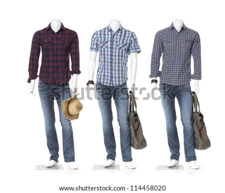 Full length male three mannequin dressed in jeans with bag and hat