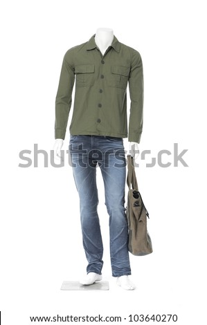Full length mannequin dressed in cotton plaid shirt on white background - stock photo