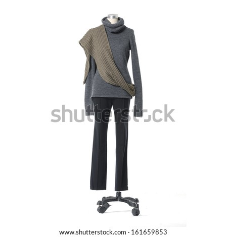 full length mannequin dressed with scarf in trousers �white background