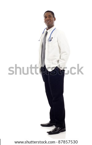 Full length of a African American male doctor standing against isolated white background - stock photo