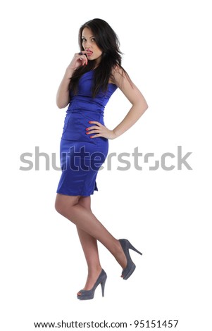 Full length of a beautiful young lady in blue dress