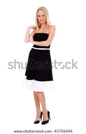 Full length of a beautiful young lady in dress - stock photo